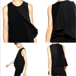 Zara Knit black high low asymmetric sleeveless top